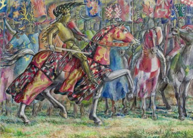 King Ottakar II in the Battle of Marchfeld 1278.