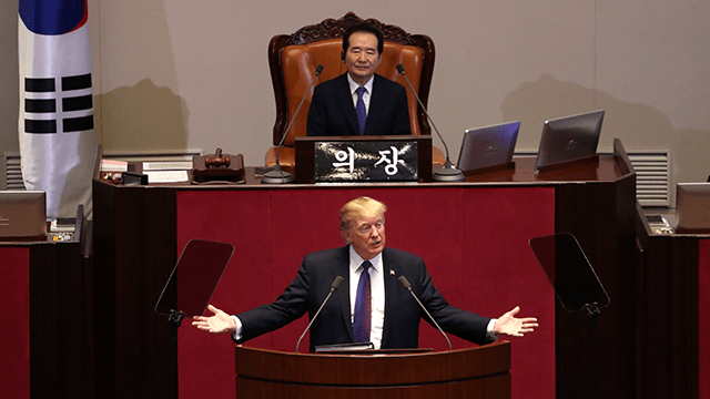 Image result for Donald Trump at The Korean National Assembly