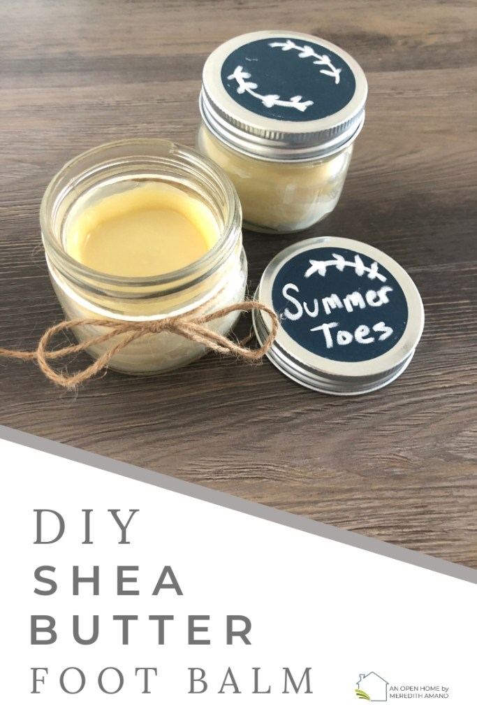 DIY Shea Butter Foot Balm - All-natural and only 3 ingredients, a lightweight solid foot lotion for summer toes! | MeredithAmand.com #diyskincare #allnatural