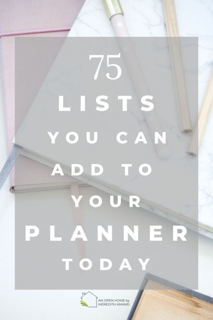 75 Lists to Keep in Your Planner - Get more organized today by writing all your thoughts in one place | MeredithAmand.com