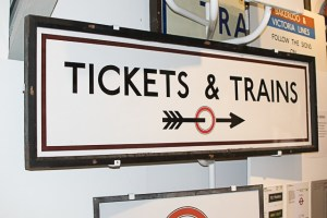 Tickets and Trains Sign