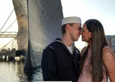 Family photos, Maternity Photos in Norfolk, VA, sunset, golden hour, uss wisconsin, uniform, navy