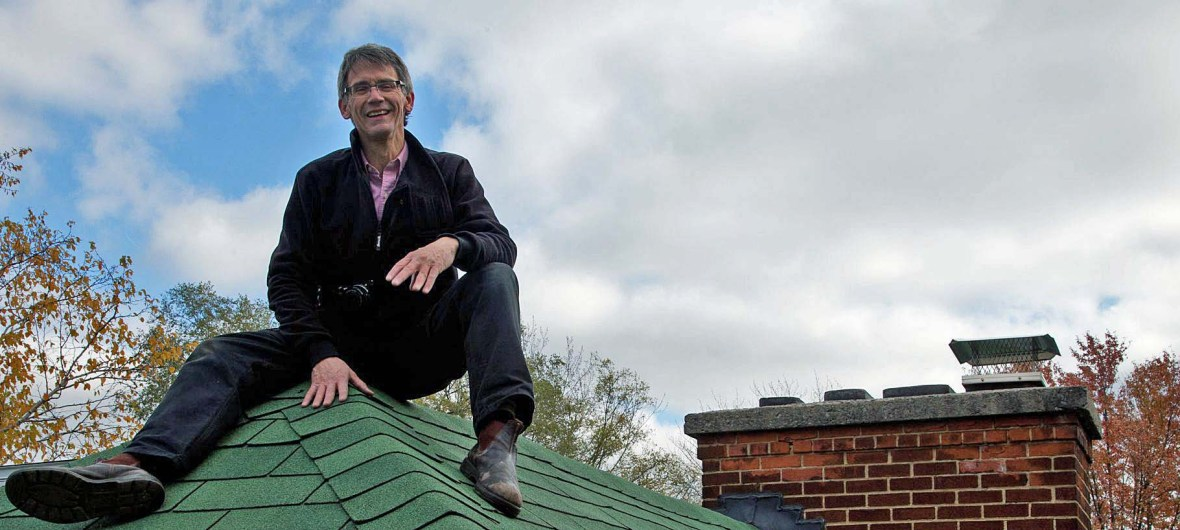 David on the roof of a house