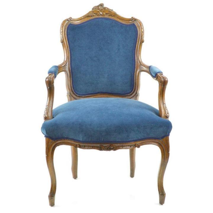 French Chair in New Blue Velvet Upholstery