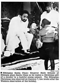 Jet Magazine Feb 5, 1953: Emperor HaileSelassie of Ethiopia plays Santa Claus as he makes a Chri ...