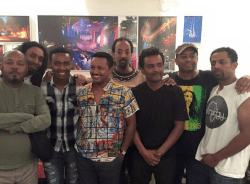 Teddy Afro poses for photo with Ethiopian-Israeli soldier Damas Pakada who was attacked by rogue ...