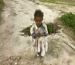 A 5-year-old Ethiopian girl works for living instead of going to preschool