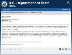 The U.S. Department of State issued a statement expressing concerns over the death of peaceful p ...