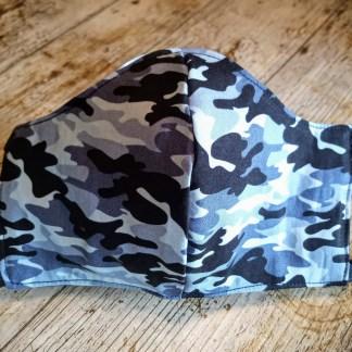 MONDMASKER Caomouflage blauw