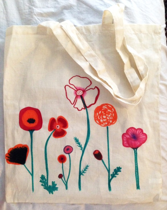 Canvas tote with poppies.