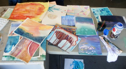 The flurry of paintings after Julian had sifted through my pile.