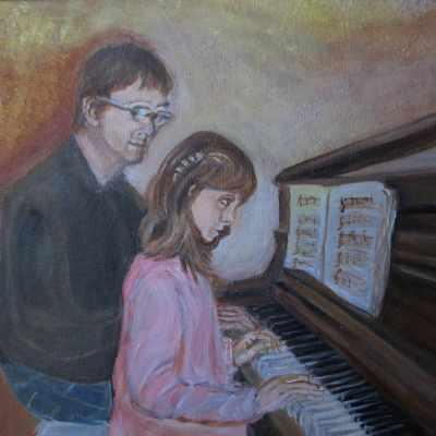 Père et fille au piano