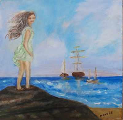Peinture Jeune Fille Face à la mer