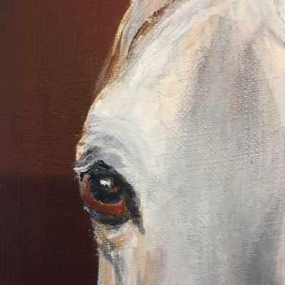 Peinture cheval mélancolique détail - Mérèse