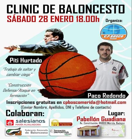 Este sábado en el pabellón Guadiana, a las 18 h. clínic de baloncesto, gratuito organizado por el C P Bosco