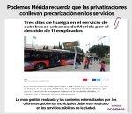 Podemos Mérida critica la ambigüedad del equipo de gobierno con respecto a los despidos denunciados por sindicalistas del servicio de transporte