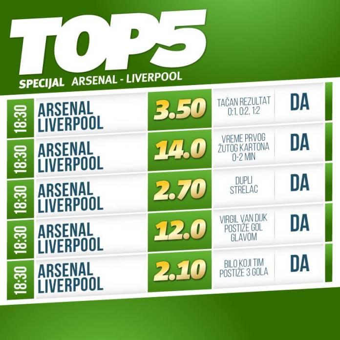 Top 5: Šta ste igrali na Arsenal – Liverpul?