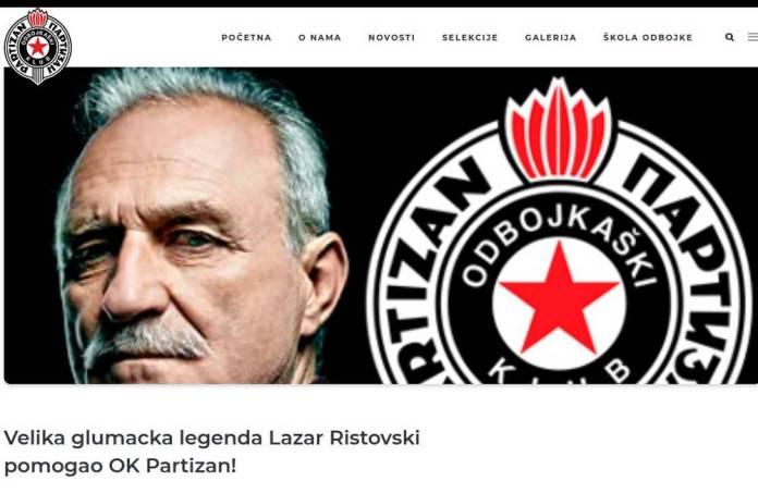 Partizan se zahvalio poznatom glumcu na finansijskoj pomoći