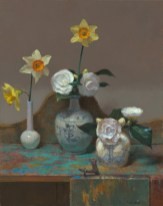 Jim McVicker, Camellias and Daffodils, 20 x 16, oil on linen.
