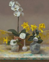 Jim McVicker, Orchid, Camellias and Daffodils, 20 x 16, oil on linen.