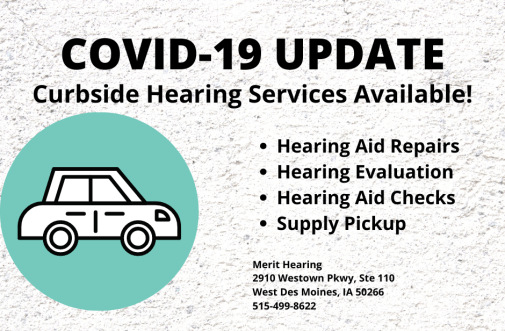 "cartoon image of a car with text ""COVID-19 Update. Curbside Hearing Services Available! Hearing Aid Repairs, hearing evaluation, hearing aid checks, supply pickup"""