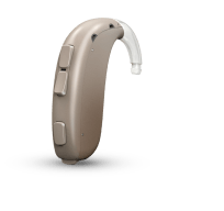 One Oticon Xceed SP hearing aid in gray standing up