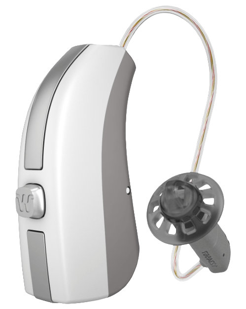 Single silver Widex Beyond hearing aid standing up