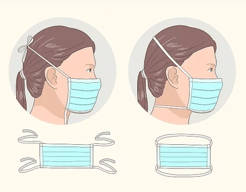 cartoon showing facemask with ties behind head on a girl with a ponytail