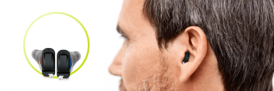 signia silk hearing aids alone and image of signia silk inside man's ear
