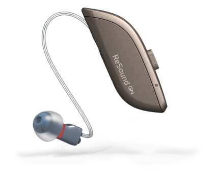 Single ReSound ONE hearing aid RIC hearing aid in warm grey color