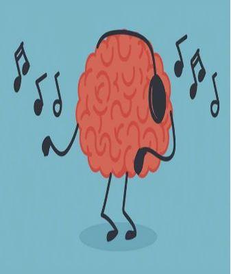 dancing brain wearing headphones