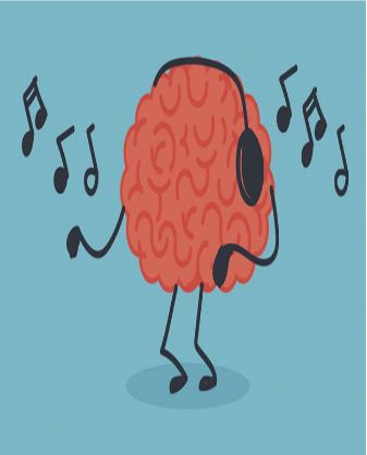 brain with headphones on dancing to music