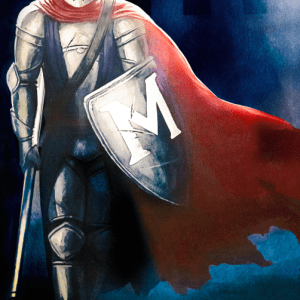 knight with armor in red cape with blue background
