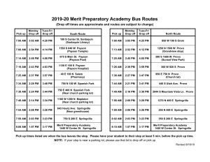 list of bus routes for Merit academy