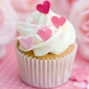 valentine cupcake with white frosting