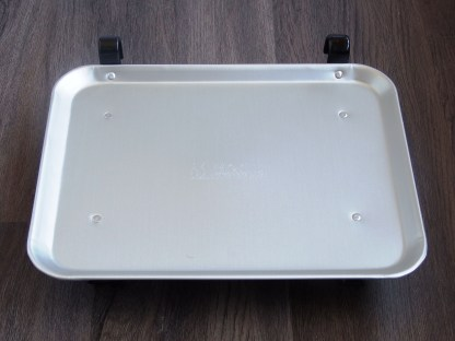 aluminum car hop tray with rubber coated feet - top view