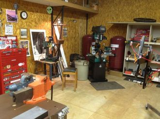 Mill, frame jig, shelves, bench & vise, drill press all within a few steps of eachother.