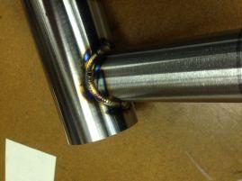headtube/top tube welds. It's a 7/4/7 top tube to a 44mm (1.25mm wall) head tube.