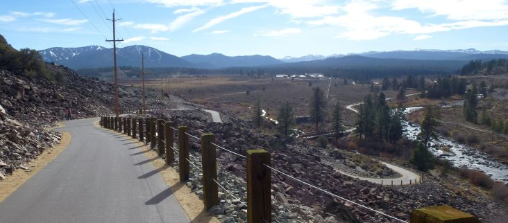 New bike path in Truckee along the Truckee river.