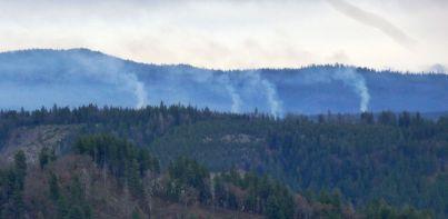 Smokestacks? Nope, slash piles on Deadwood Ridge.