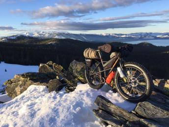 At the bench on the Tahoe Rim Trail mid-winter