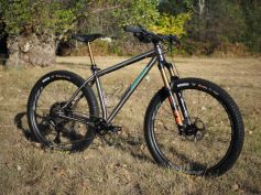 Thomson Ti riser bar, Fox 34 Stepcast 120mm fork, Ibis S35 carbon wheelset = sweet.