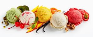 row-ice-cream-scoops-colorful-decorations-shot-above-white-background-89050361