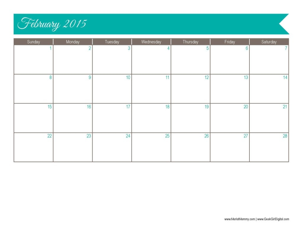 30 Days Of Free Printables February Calendar Page