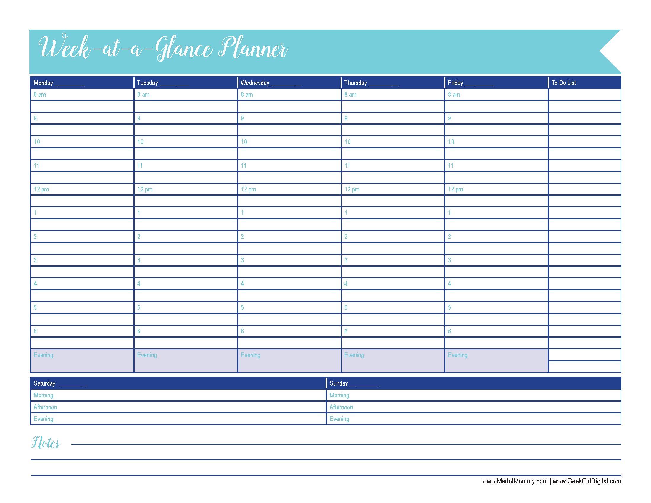Week-at-a-Glance: 30 Days of Free Printables | Merlot Mommy