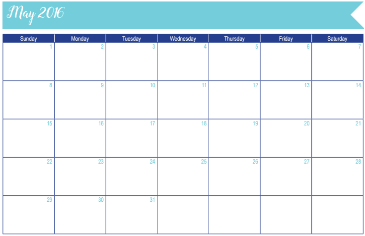 May 2016 Calendar: 30 Days of Free Printables