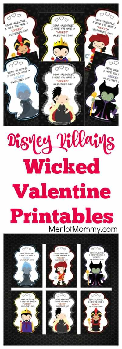 Disney Villains Wicked Cute Valentine's Day Printables