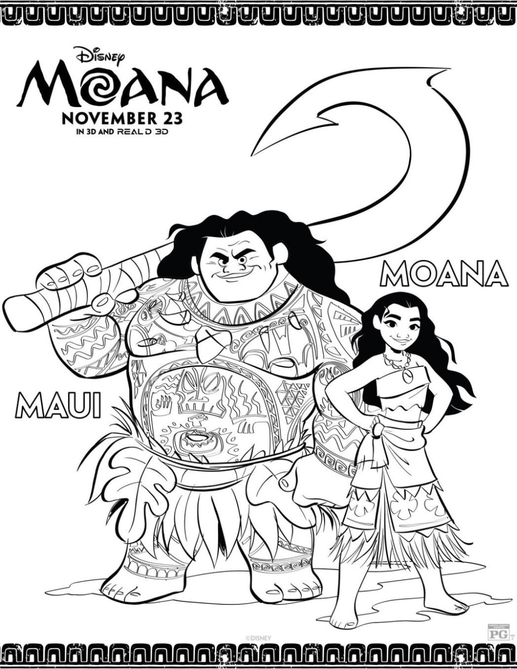 Moana Coloring Sheet with Moana and Maui