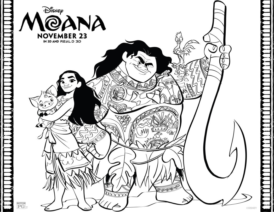 Moana Coloring Sheet with Maui and Moana