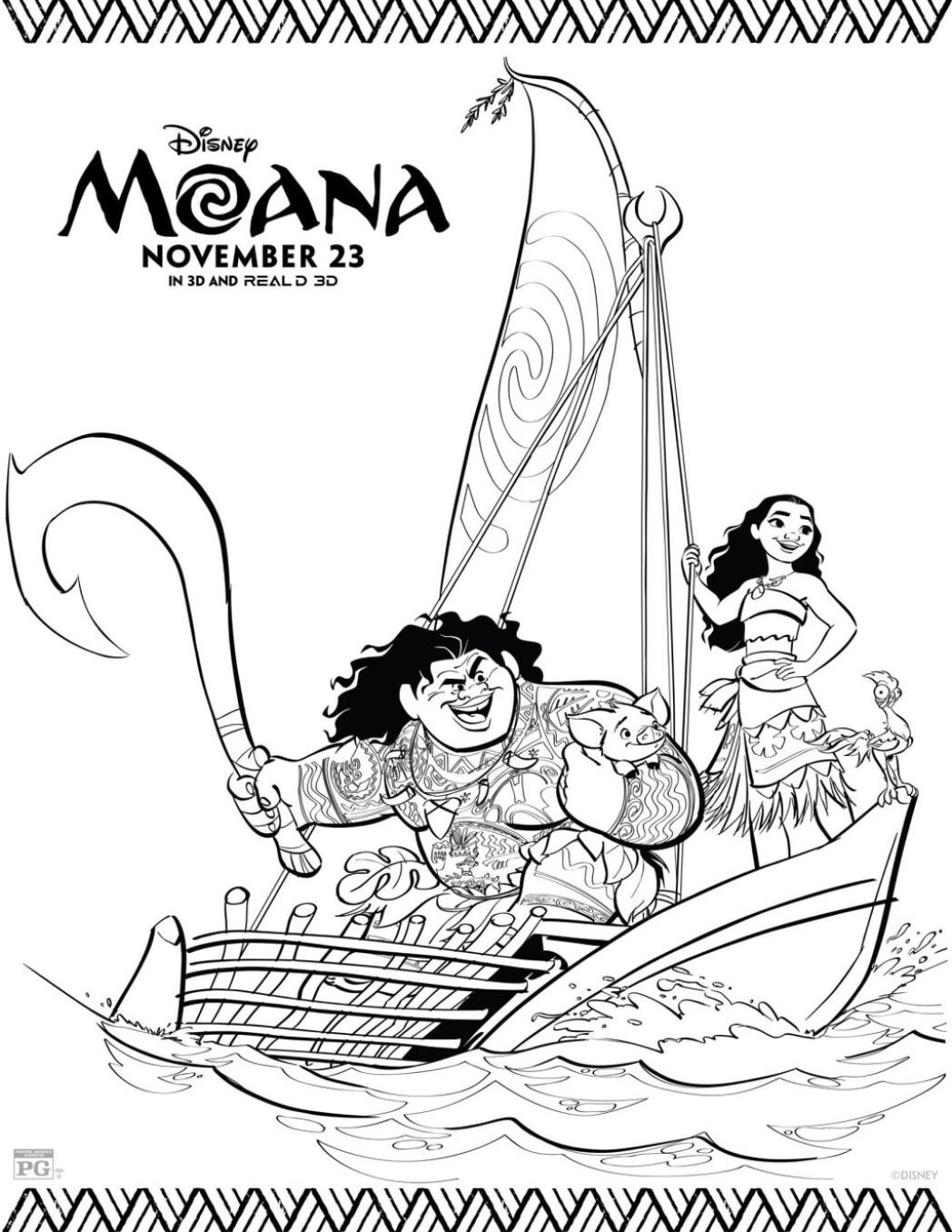 Moana Coloring Sheet on a boat
